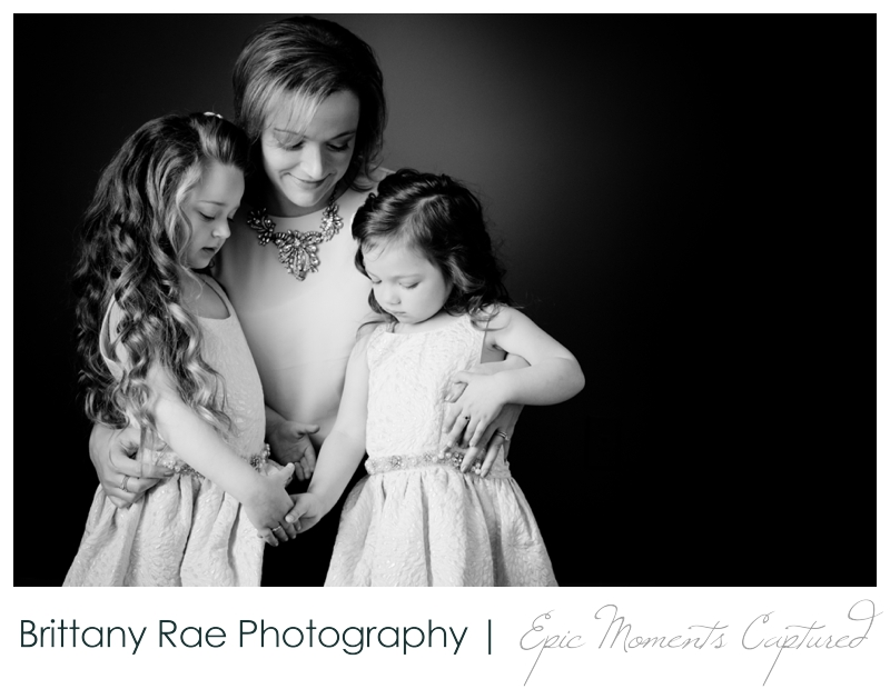 Mom and Me Portraits - Mom with her two young daughters in black and white
