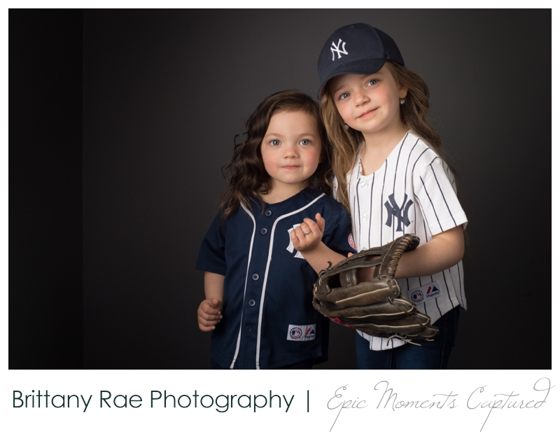 Mom and Me Portraits - Young girls dressed in New York Yankee Jerseys