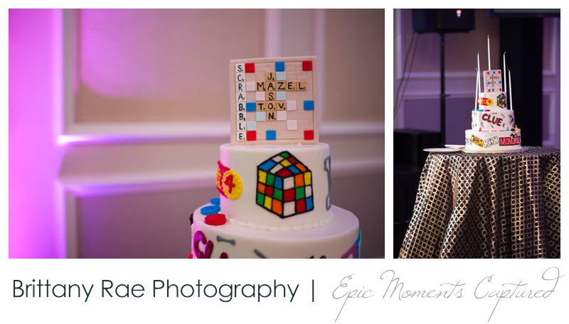 Belmont Country Club Bar Mitzvah - Scrabble and Rubix Cube Cake