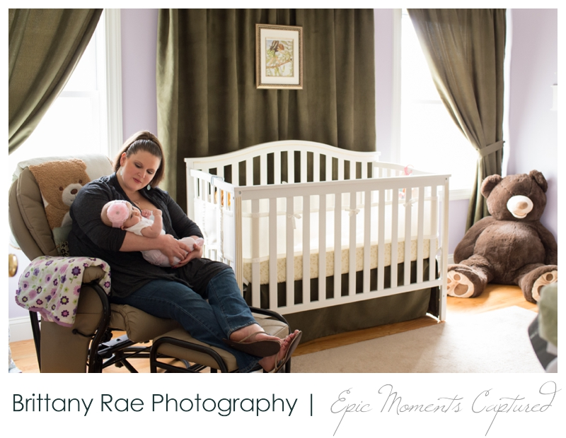 Family Lifestyle Photos in Biddeford Maine - Mom with baby in nursery