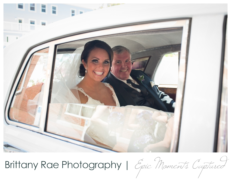 Sheraton Harborside Wedding in Portsmouth NH - bride and dad in vintage car
