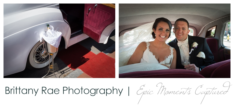 Sheraton Harborside Wedding in Portsmouth NH - Bride and Groom in Bentley