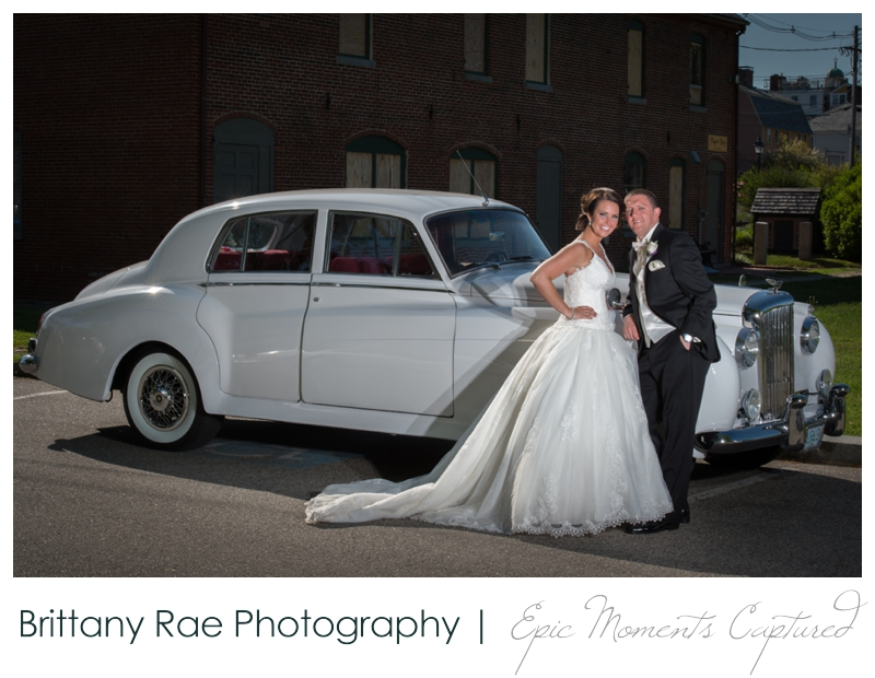 Sheraton Harborside Wedding in Portsmouth NH - Bride and Groom with Bentley