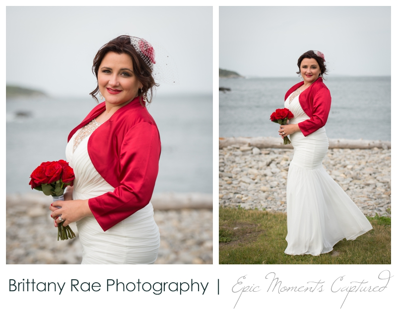 Portland Headlight wedding photos - bride in red accents