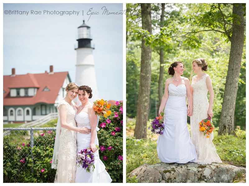 Purpoodock Club Wedding in Cape Elizabeth Maine - two brides at lighthouse