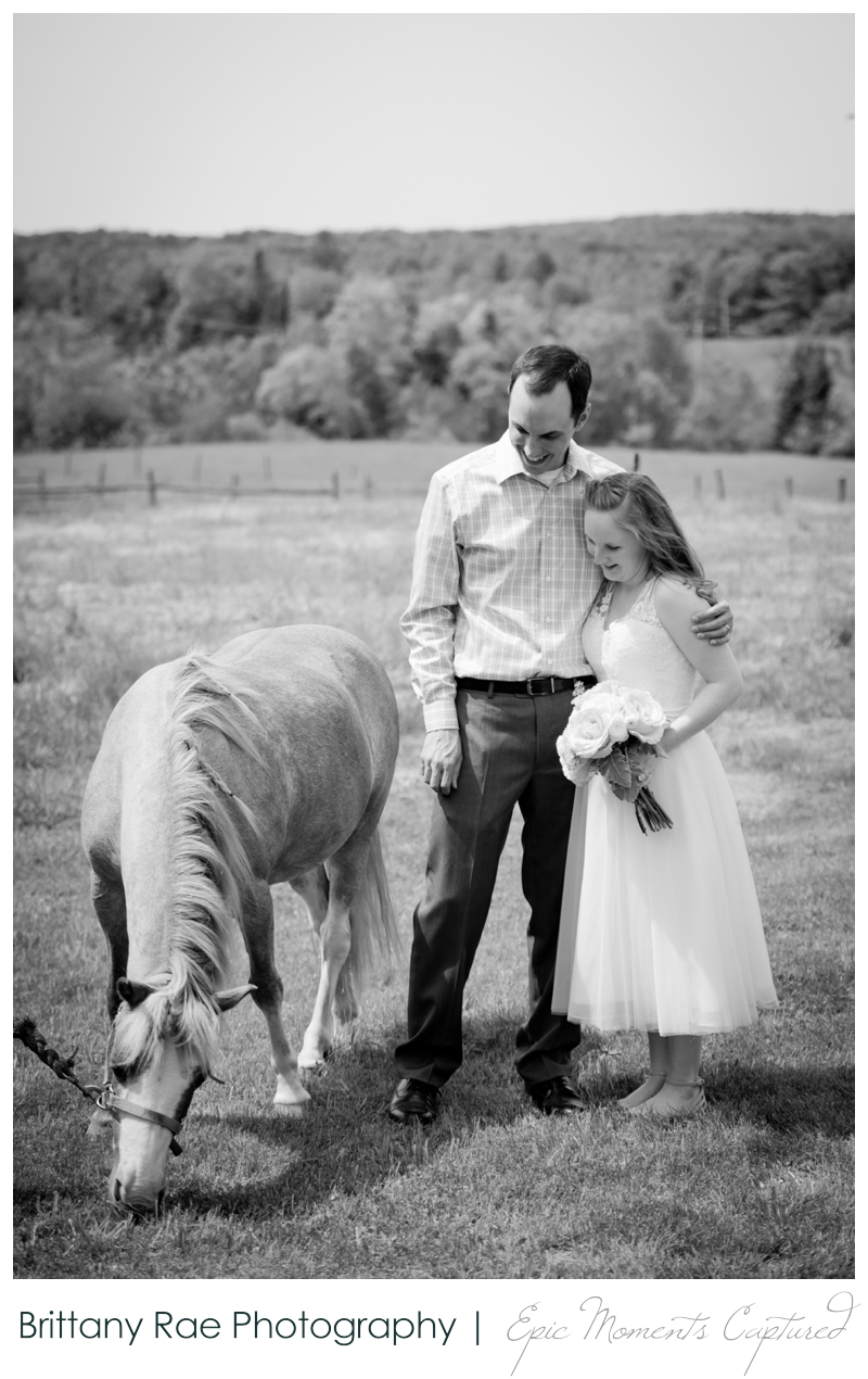 Backyard Wedding in Camden Maine -  Bride and Groom with horse