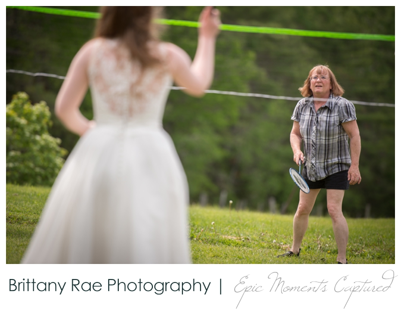 Backyard Wedding in Camden Maine -  Wedding lawn games badminton