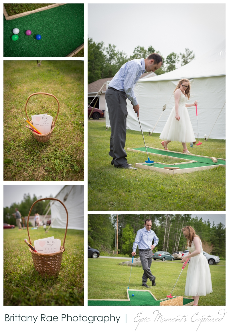 Backyard Wedding in Camden Maine -  Backyard lawn games mini golf