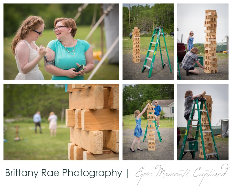 Backyard Wedding in Camden Maine -  Wedding lawn games jenga