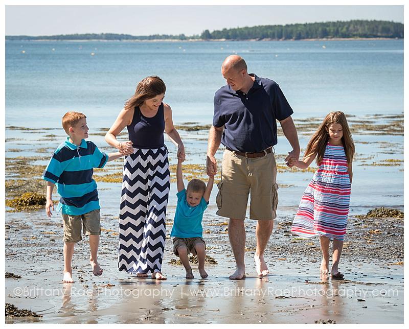Owls Head Family Photos Camden Maine - family walking on beach