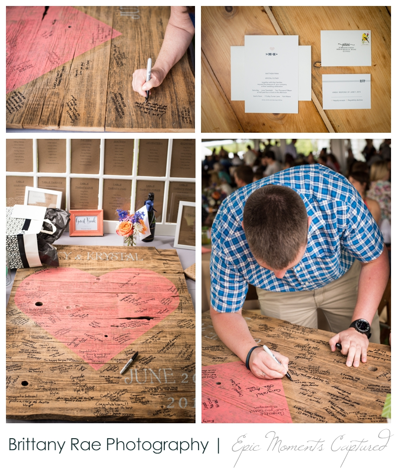 Zach's Farm Wedding Photos | York Maine - Rustic guest signing plaque