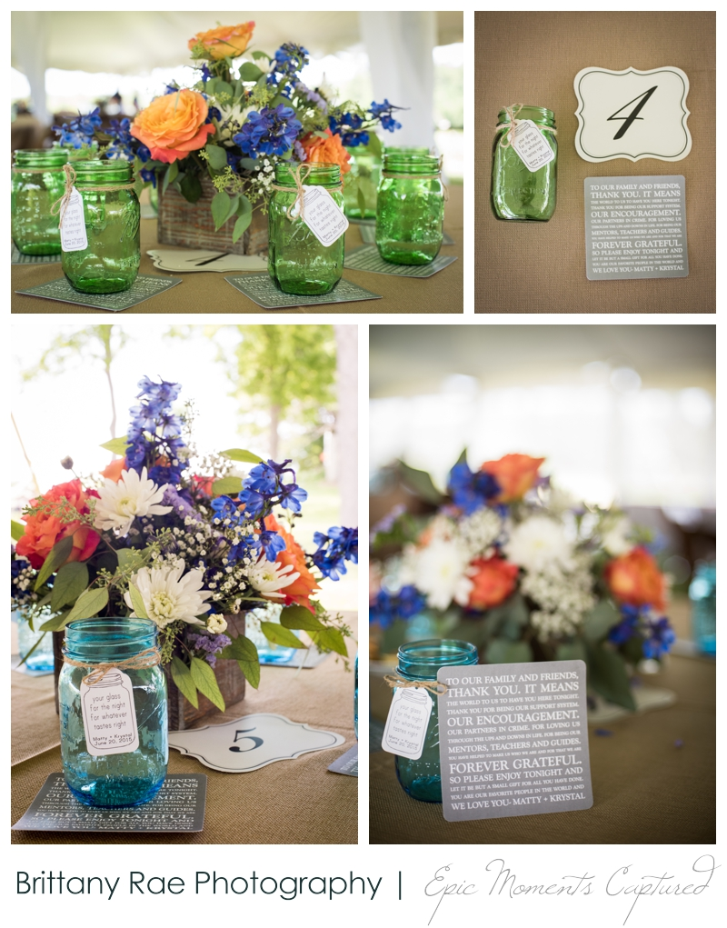 Zach's Farm Wedding Photos | York Maine - Colored Mason Jar Favors