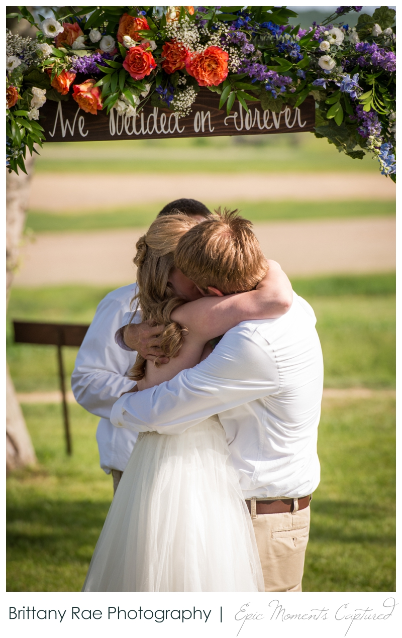 Zach's Farm Wedding Photos | York Maine - First Kiss at Farm Wedding