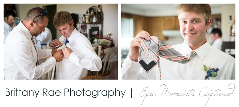 Zach's Farm Wedding Photos | York Maine - grooms custom tie