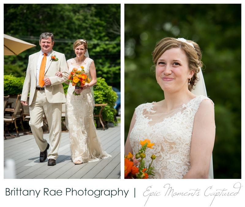 Purpoodock Wedding Photos Cape Elizabeth Maine - Bride and dad walking down the aisle