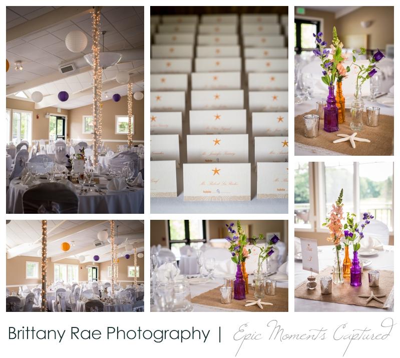 Purpoodock Wedding Photos Cape Elizabeth Maine - Purple and Orange Nautical Wedding details