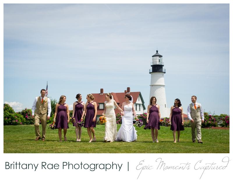Purpoodock Wedding Photos Cape Elizabeth Maine - Wedding portraits at Portland Head Light