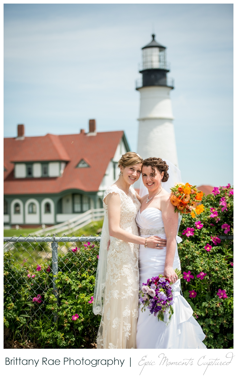Purpoodock Wedding Photos Cape Elizabeth Maine - Two Brides at Lighthouse