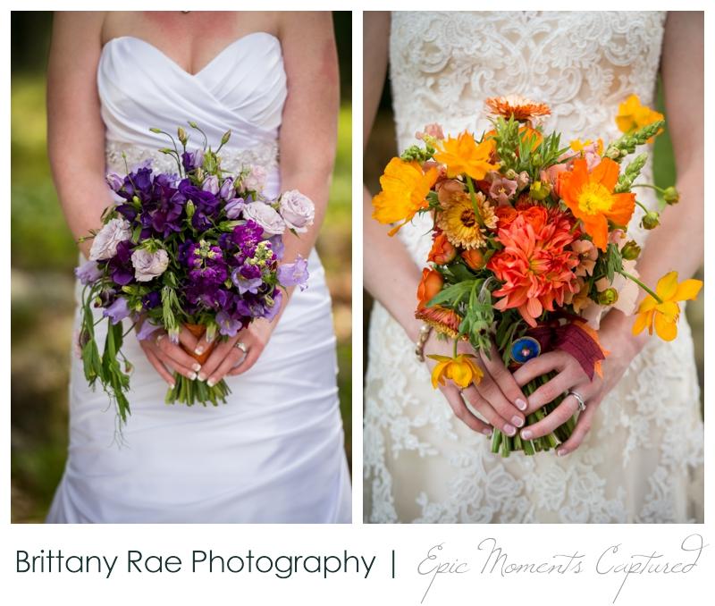 Purpoodock Wedding Photos Cape Elizabeth Maine - Purple and orange bridal bouquets