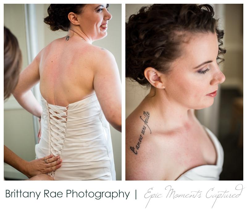 Purpoodock Wedding Photos Cape Elizabeth Maine - lacing up corset wedding gown
