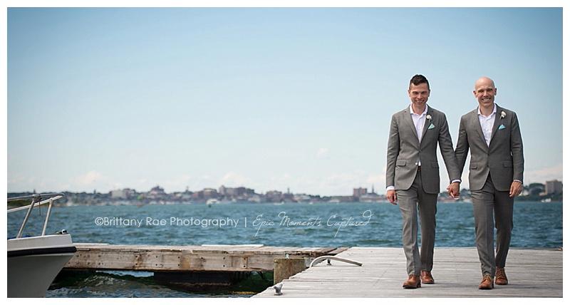 Harborview at Jones Landing Peaks Island Maine wedding - two grooms on the ocean