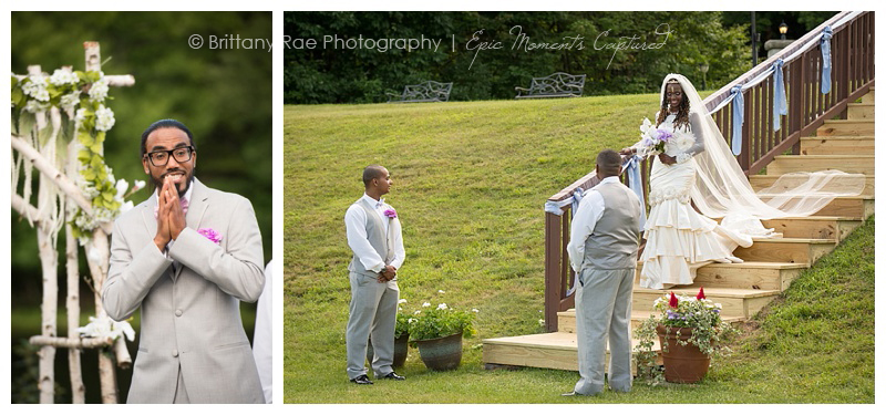 Indian Head Resort Wedding in Lincoln New Hampshire - Groom seeing Bride walk down the aisle