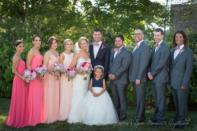 The Colony Hotel wedding in Kennebunkport Maine - Ombre bridesmaids dresses