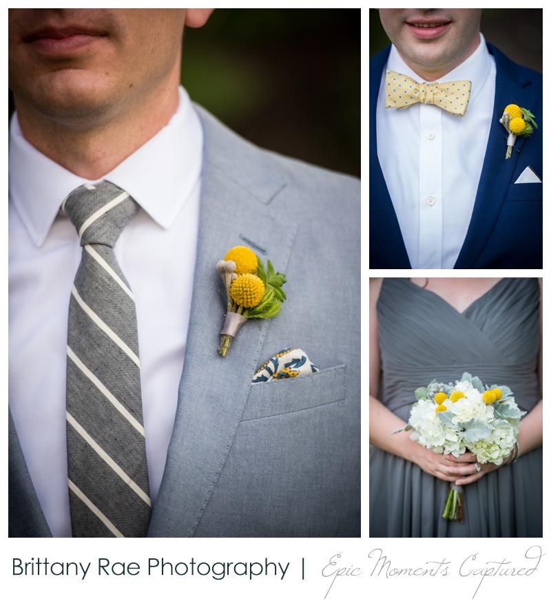 Inn on Peaks Island Wedding, Portland Maine - Yellow and Navy wedding flowers