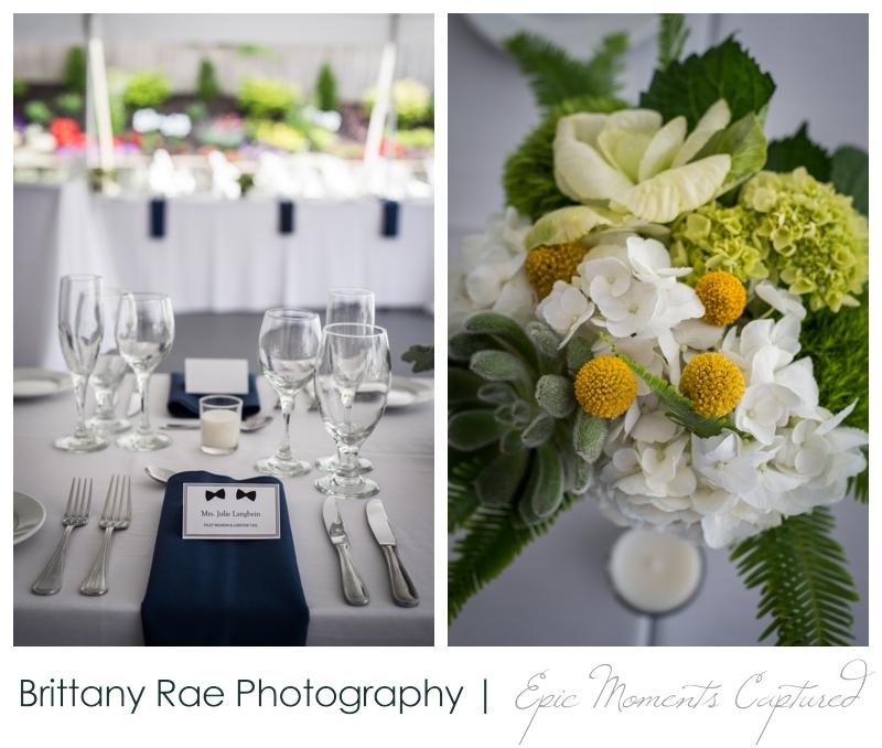 Inn on Peaks Island Wedding, Portland Maine - Navy and Yellow wedding details