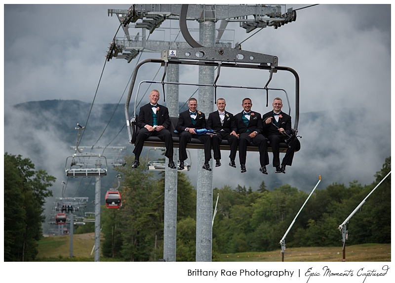 Sunday River Wedding, Bethel Maine, Newry Maine - Groom riding a chairlift