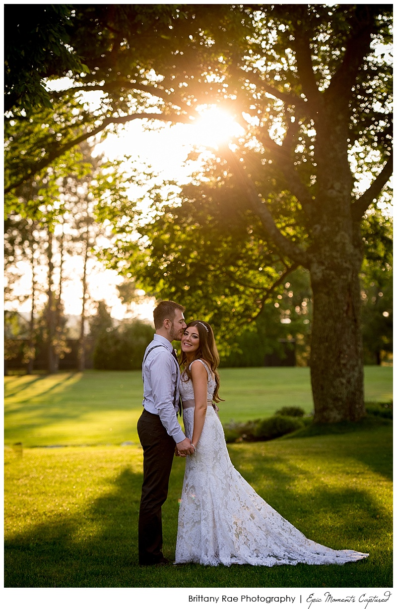 Pineland Farms Wedding, New Gloucester - Wedding Couple in sunset