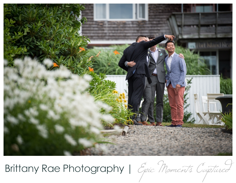 Harborview at Jones Landing Wedding, Peaks Island Maine - wedding party selfie