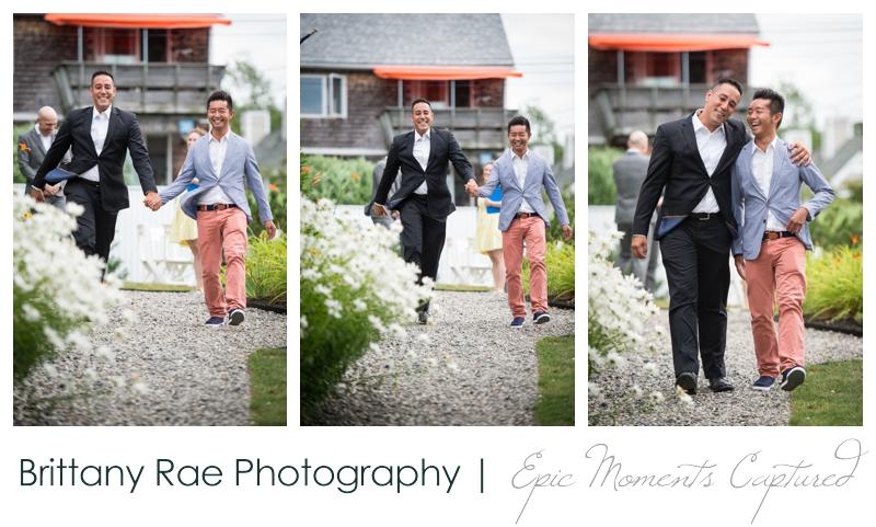 Harborview at Jones Landing Wedding, Peaks Island Maine - best men skipping