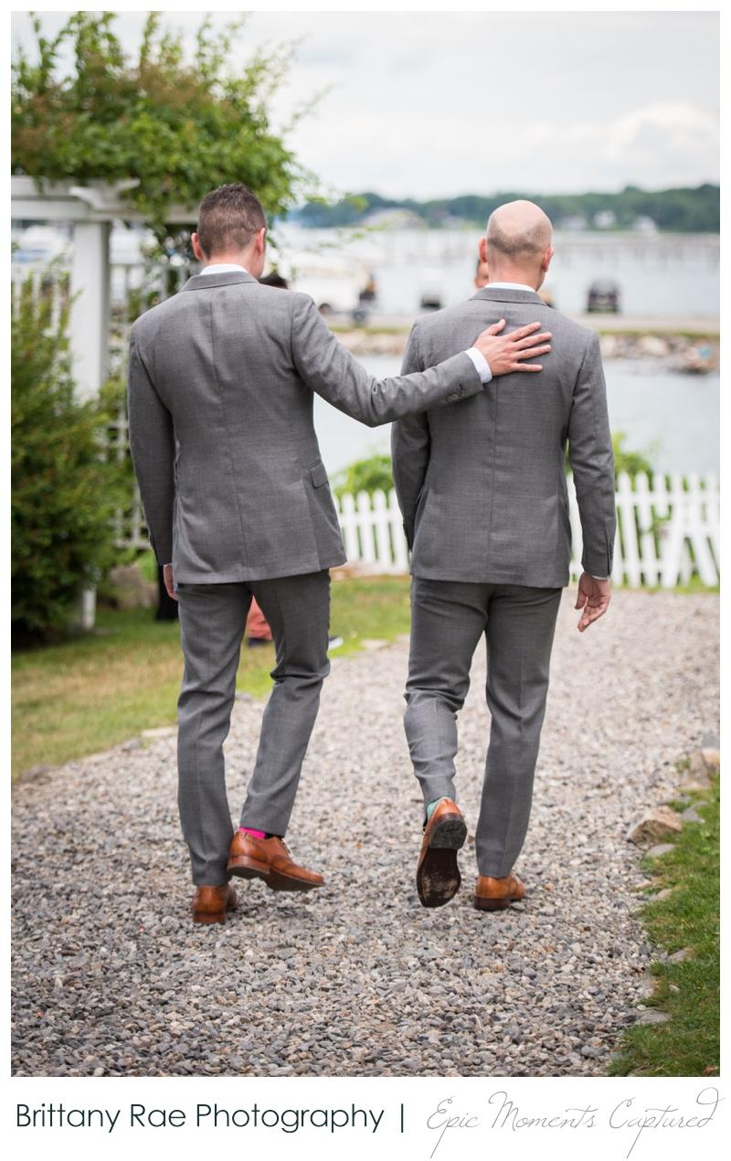 Harborview at Jones Landing Wedding, Peaks Island Maine - grooms at ceremony