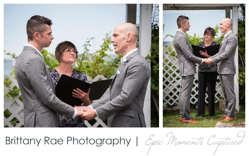 Harborview at Jones Landing Wedding, Peaks Island Maine - ceremony on lawn