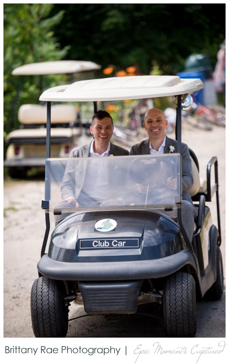 Harborview at Jones Landing Wedding, Peaks Island Maine - grooms in golfcart
