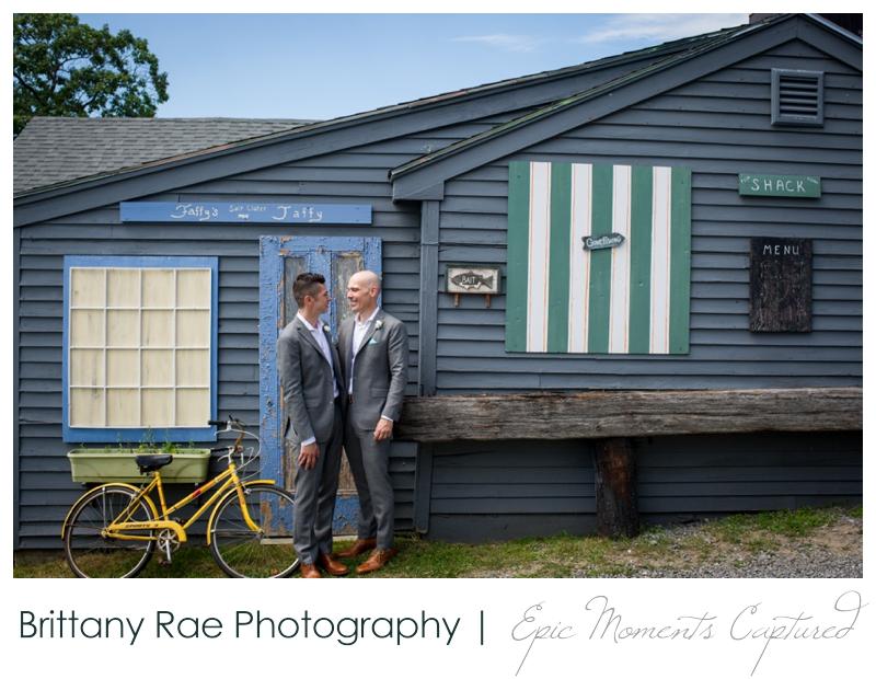 Harborview at Jones Landing Wedding, Peaks Island Maine - rustic storefront portraits