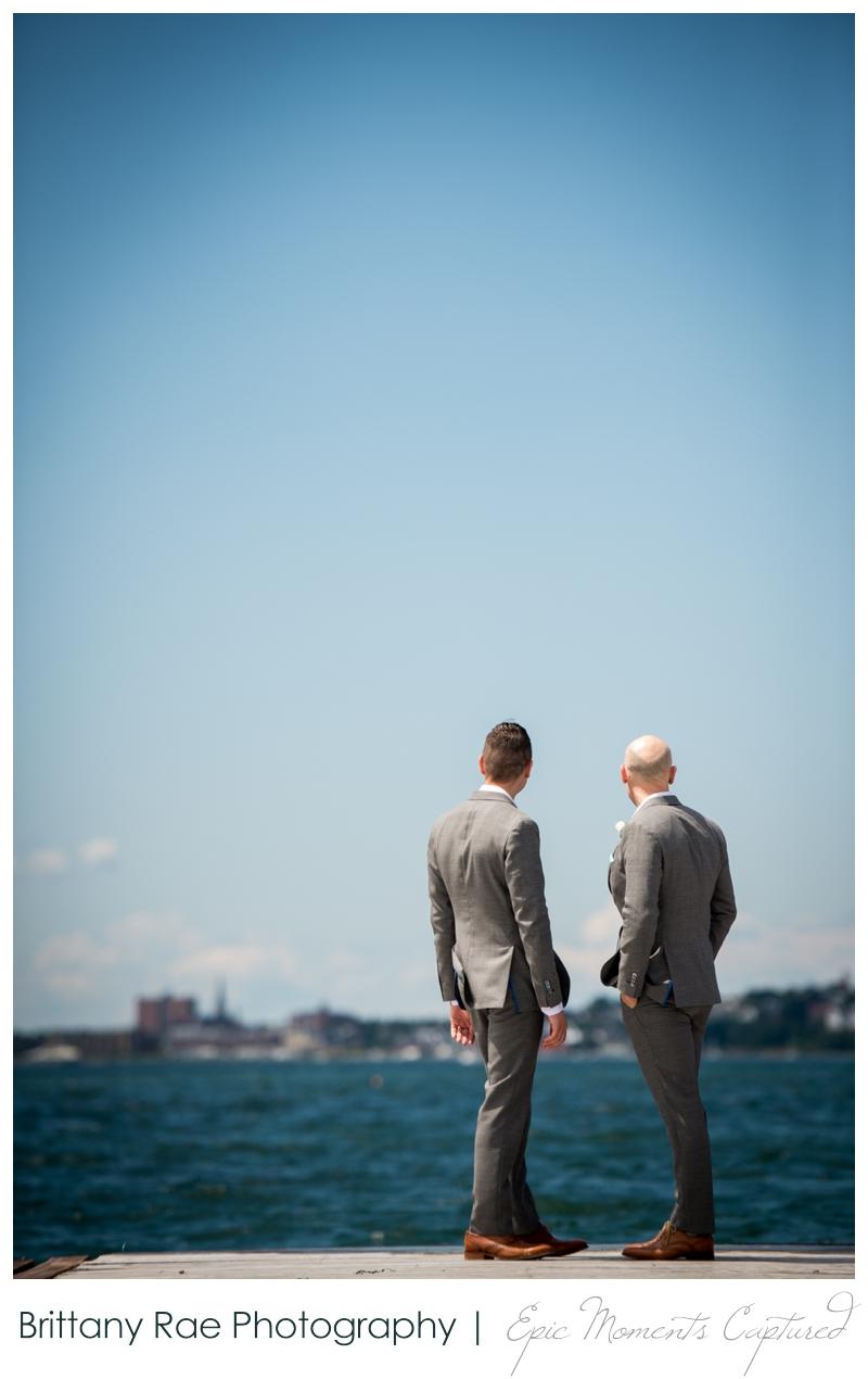 Harborview at Jones Landing Wedding, Peaks Island Maine - looking out at Portland