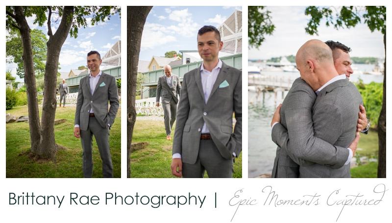 Harborview at Jones Landing Wedding, Peaks Island Maine - grooms first look