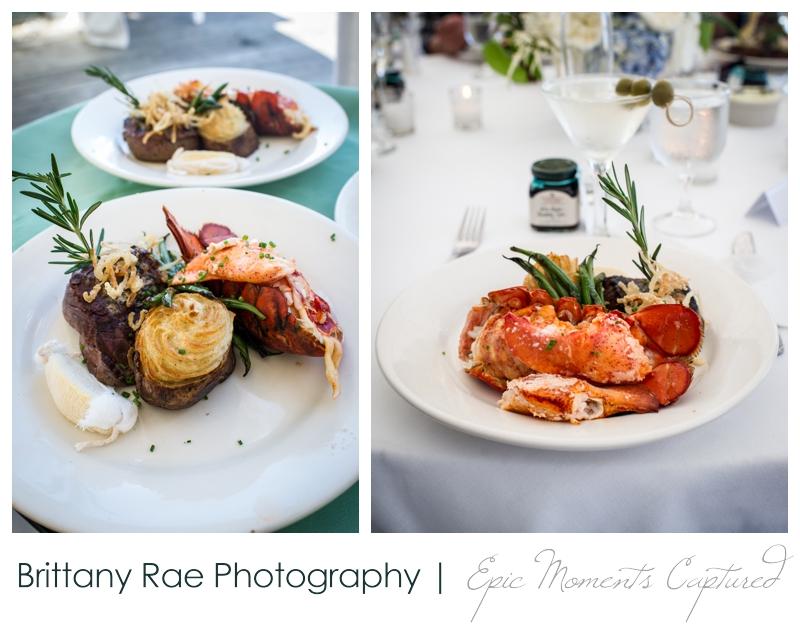Harborview at Jones Landing Wedding, Peaks Island Maine - filet and lobster tail