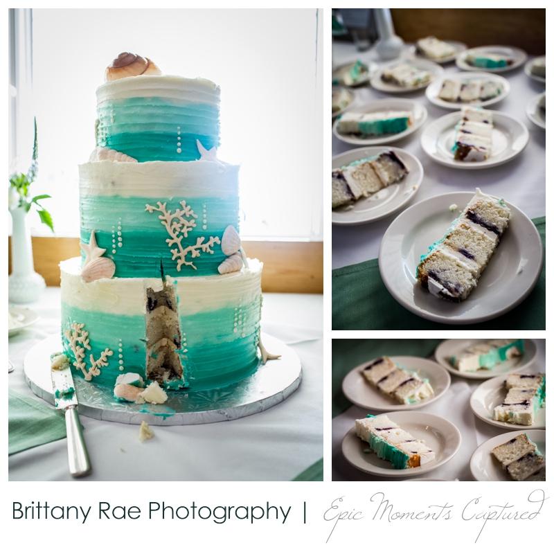 Harborview at Jones Landing Wedding, Peaks Island Maine - ombre nautical wedding cake