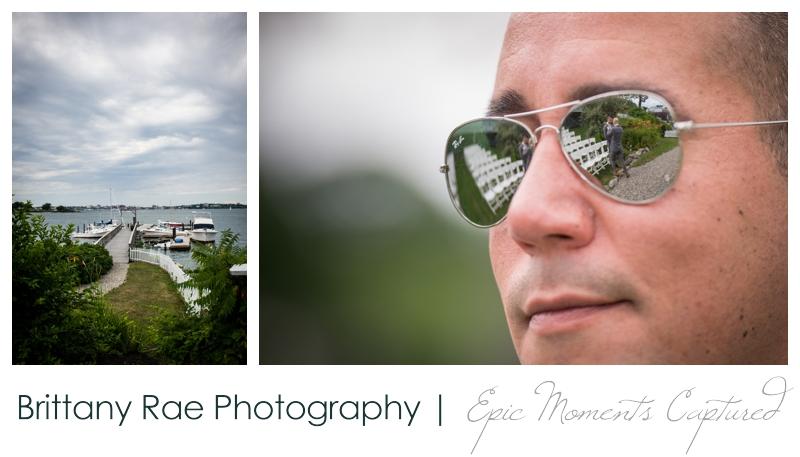 Harborview at Jones Landing Wedding, Peaks Island Maine - sunglass reflection