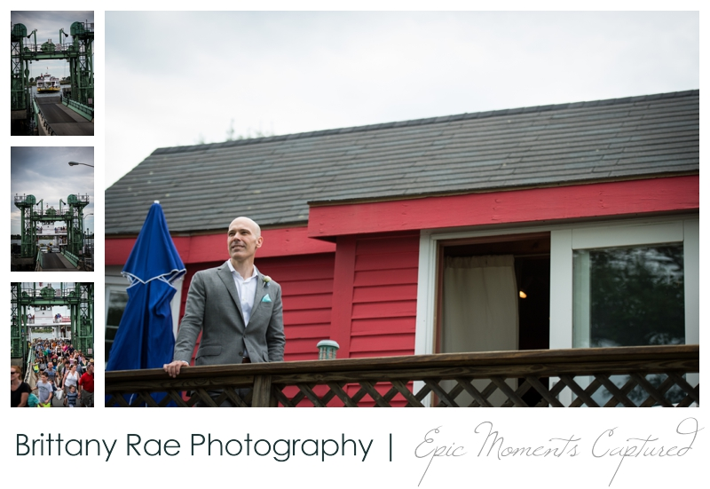 Harborview at Jones Landing Wedding, Peaks Island Maine - groom on cottage deck