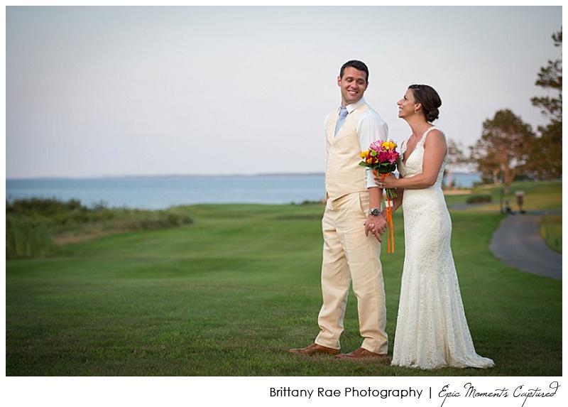 Seamiest Resort Wedding Rockland Maine - Couple on ocean golf course