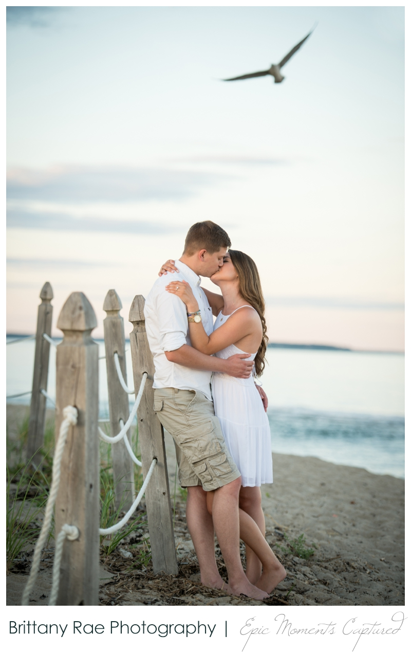 Old Orchard Beach Engagement Photos - Seagull engagement photobomb