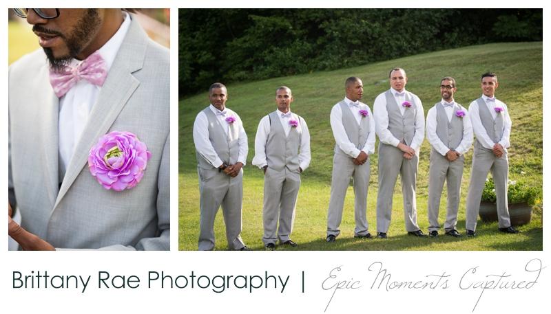 Indian Head Resort Wedding Lincoln New Hampshire - Groomsmen with purple flowers