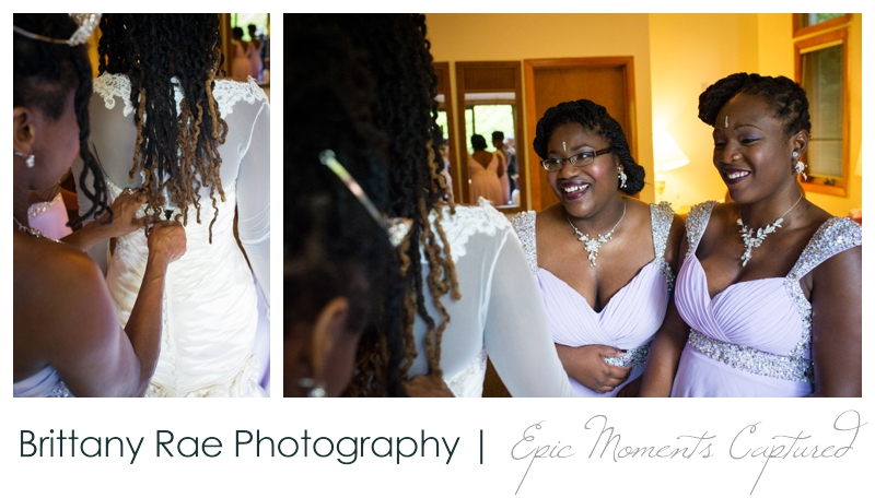 Indian Head Resort Wedding Lincoln New Hampshire - Bride getting into dress