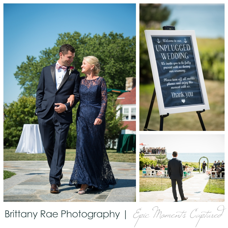 The Colony Hotel Wedding in Kennebunkport Maine - mom walking groom down aisle