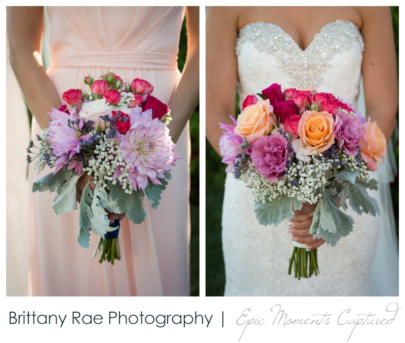 The Colony Hotel Wedding in Kennebunkport Maine - Pink, purple bridal bouquets
