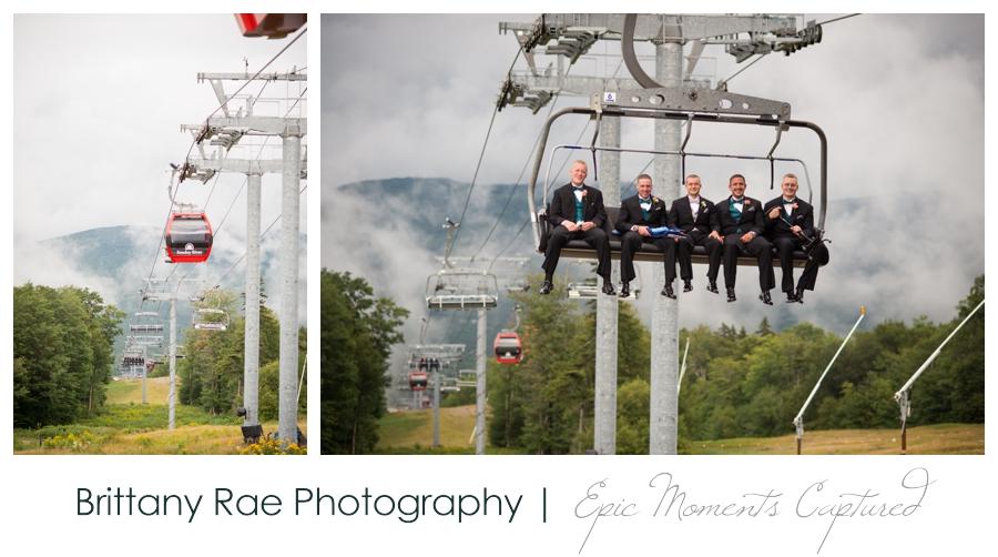 Peak Lodge Sunday River Wedding in Bethel Maine - Ski lift wedding party